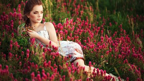 wallpaper flower girl nice most beautiful girl ever in flower garden