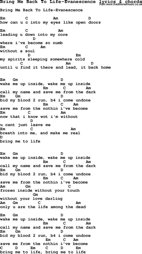evanescence bring me to testo song lyrics for bring me back to evanescence