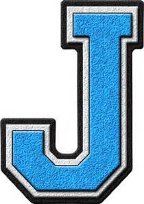 presentation alphabets light blue varsity letter j