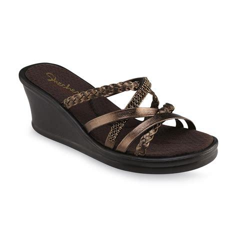 skechers wedge sandals skechers s rumblers child brown bronze wedge