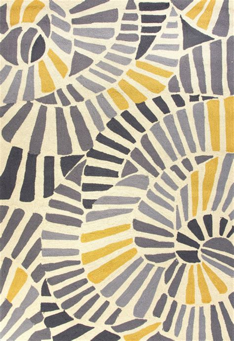 Yellow And Gray Outdoor Rug Abstract Pattern Polypropylene Yellow Gray Indoor Outdoor Area Rug 5x7 6 Contemporary
