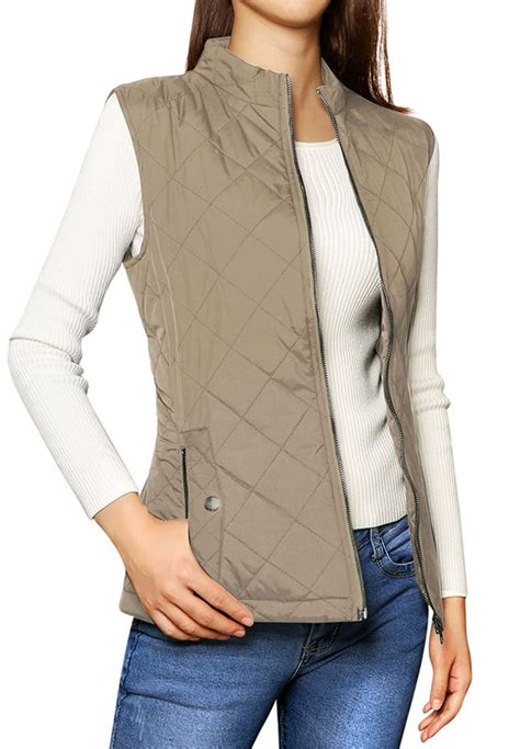 Stand Collar Padded Vest allegra k stand collar zip up front gilet quilted