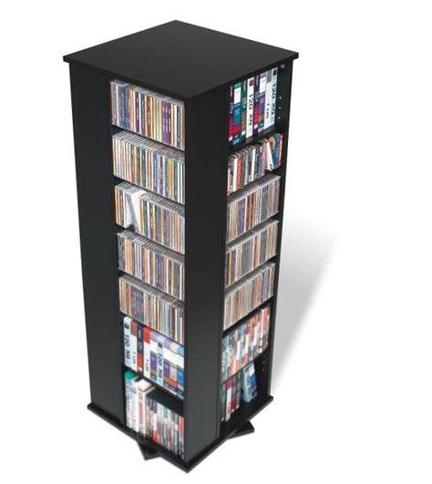dvd storage tower black 4 sided spinning tower