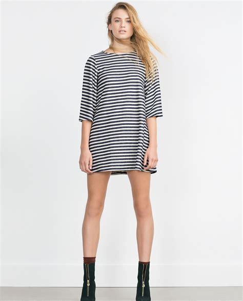 Zara Striped Dress zara striped dress in blue white navy lyst
