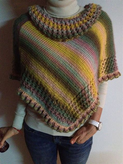 patrones de ruanas a crochet ruana multicolor tejida en dos agujas multicolor poncho