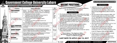 Mba Gcu Lahore by Government College Gcu Lahore 2017 2018