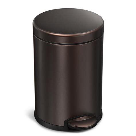 bronze bathroom trash can simplehuman 4 5 liter dark bronze stainless steel round