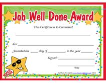 printable job well done award certificates templates