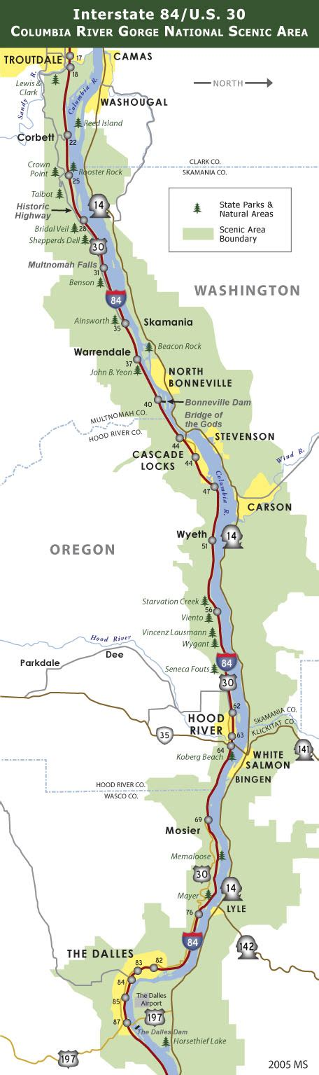 map of oregon i 84 interstate 84 us 30 in the columbia gorge