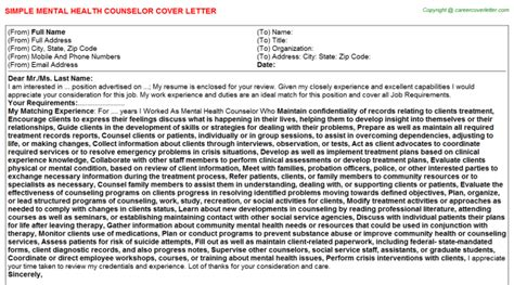 mental health counselor cover letter mental health counselor cover letter sle