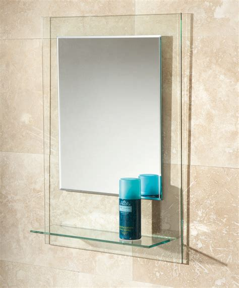 bathroom mirror bevelled edge hib fuzion bevelled edge mirror with glass shelf 72300100