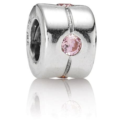 Pandora Pink Band Charm P 726 retired pandora silver band with pink cz charm gems with sterling silver 790172pcz