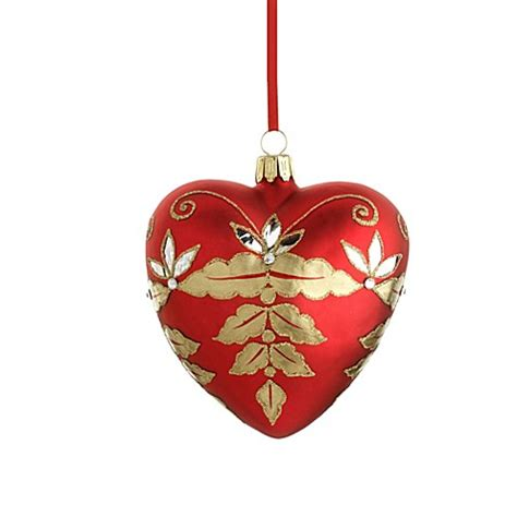 reed barton 174 glass blown christmas heart ornament bed