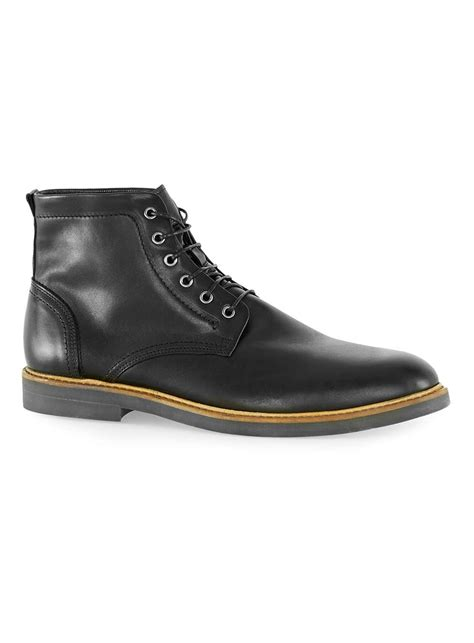 black leather lace up boots topman