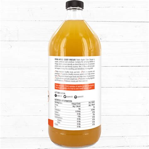 Apple Cider Vinegar 946 Ml pipkin organic apple cider vinegar 946ml pipkin superfoods