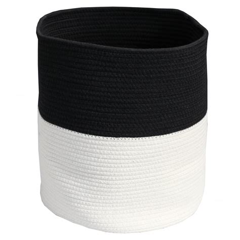 White Storage Bags black white soft rope storage bag basket