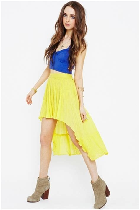 neon yellow high low skirt gal neon