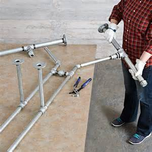 Kitchen Island Spacing pipe frame harvest table