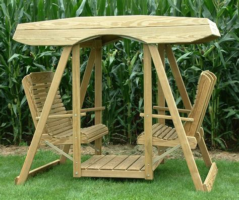 wood garden swing amish pine wood contour highback double lawn swing with