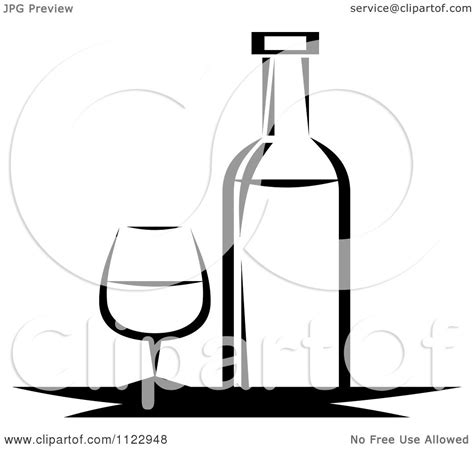 black and white chagne bottle clipart clipart of a black and white wine bottle and glass