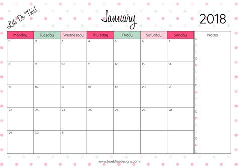 printable quarterly calendar 2018 2018 monthly printable calendar let s do this true