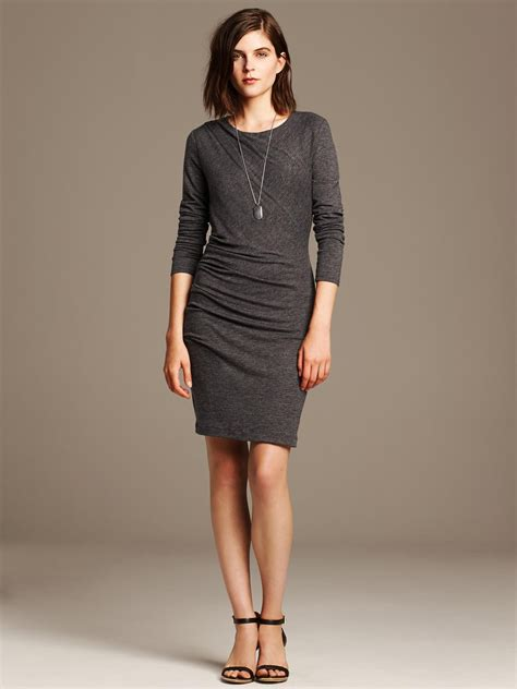 Banana Grey Dress lyst banana republic ruched gray jersey dress in gray
