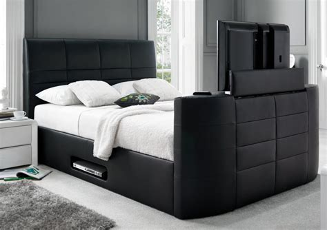 bed frame with built in tv york leather black tv bed leather beds beds