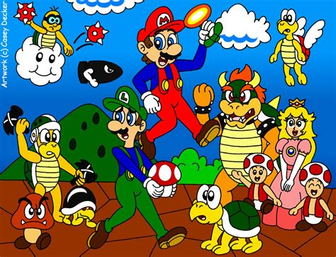 Kaos Mario Bross Mario Artworks 16 mario bros 30th anniversary tribute by caseydecker