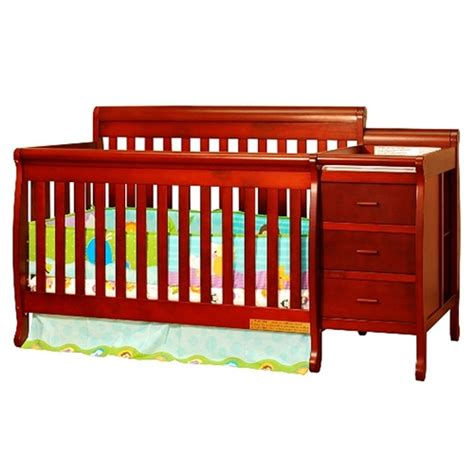 athena 3 in 1 crib and changer combo cherry