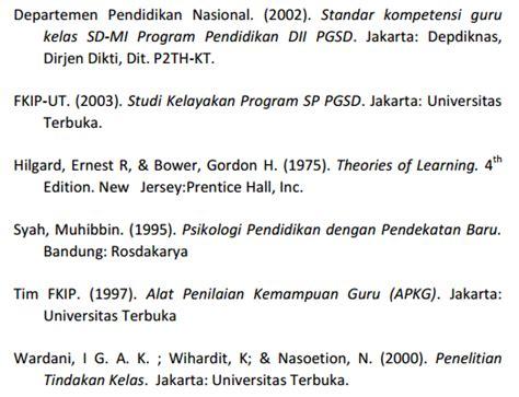 penulisan daftar pustaka pada karya ilmiah berbagainfo panduan karya ilmiah ut 2013