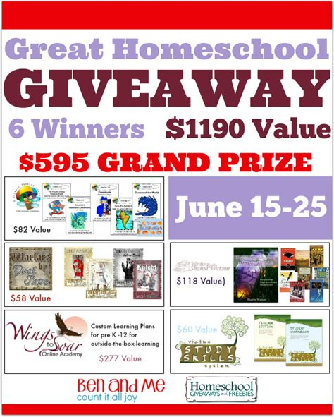 Homeschool Giveaway - great homeschool giveaway june edition my joy filled life