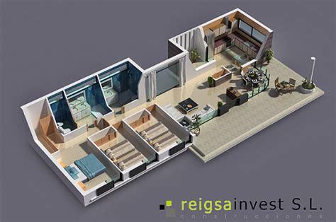 habitacion 3d togerseo plano de casa de 3 habitaciones en 3d