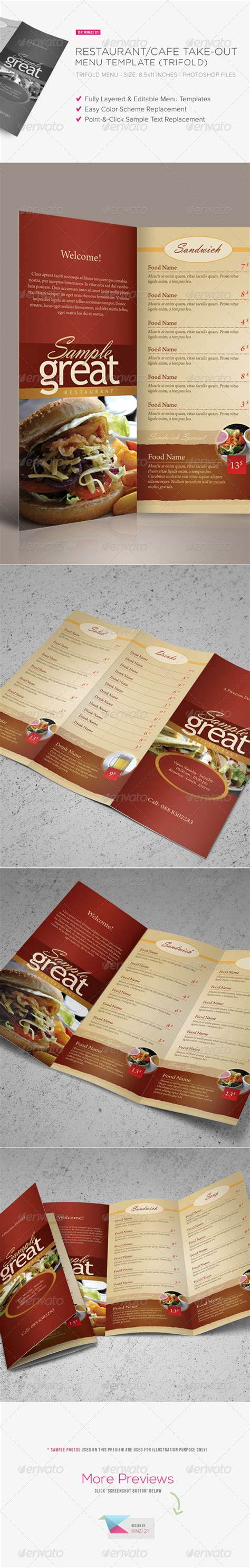 restaurant take out menu templates restaurant cafe take out menu template graphicriver