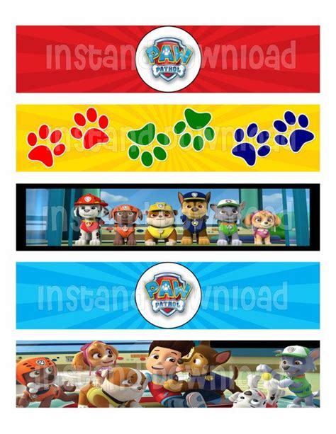 Caninea Home paw patrol water bottle labels print at home 2x8
