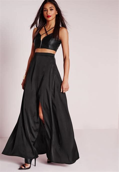 Wedges Flowy Pleated Skirt Rok Import satin wrap maxi skirt black missguided