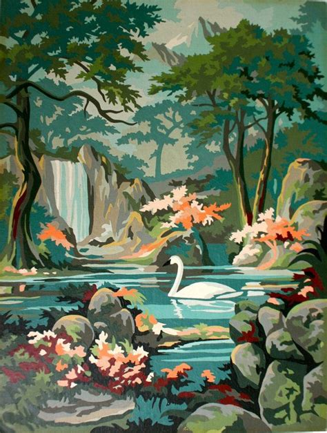 painting by numbers vintage paint by number swan painting artwork