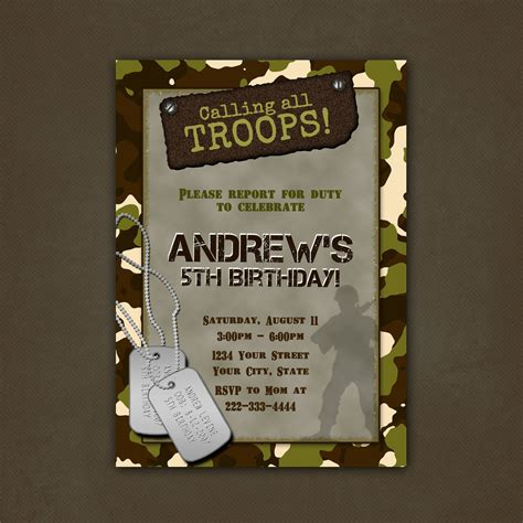 free printable army party decorations military camouflage birthday party invitations printable file