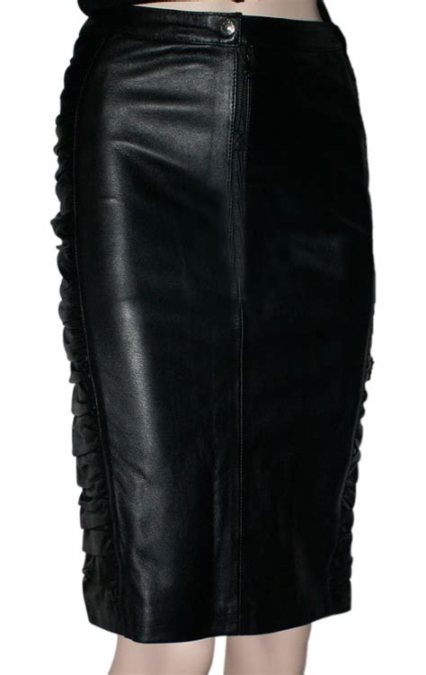 buy ruffled pencil fit leather skirt