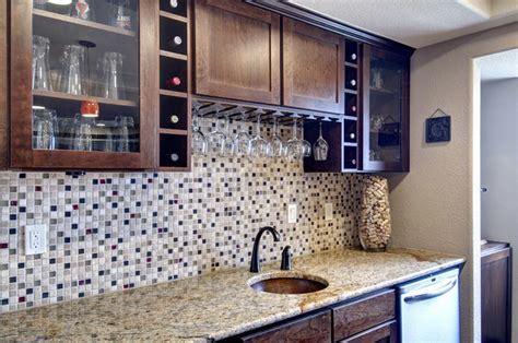 Pictures Of Kitchens With Backsplash basement wet bar backsplash traditional basement