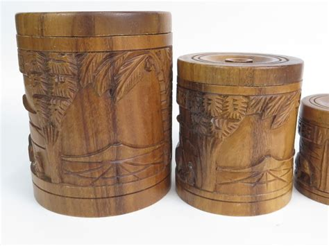 wooden kitchen canister sets vintage carved wooden kitchen canister set nesting tiki
