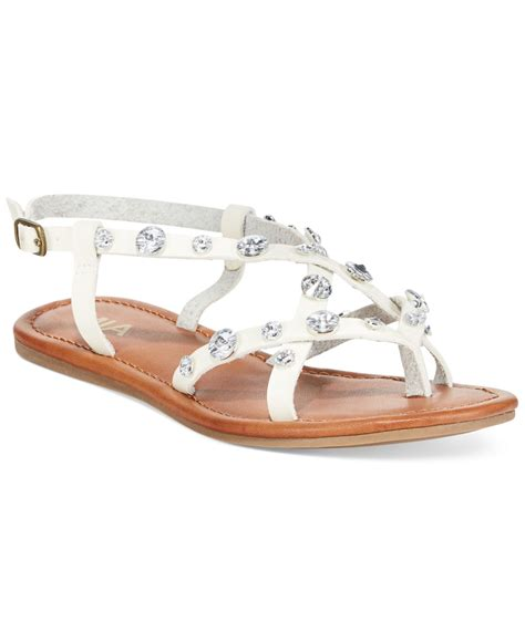 white rhinestone sandals lyst peace rhinestone flat sandals in white