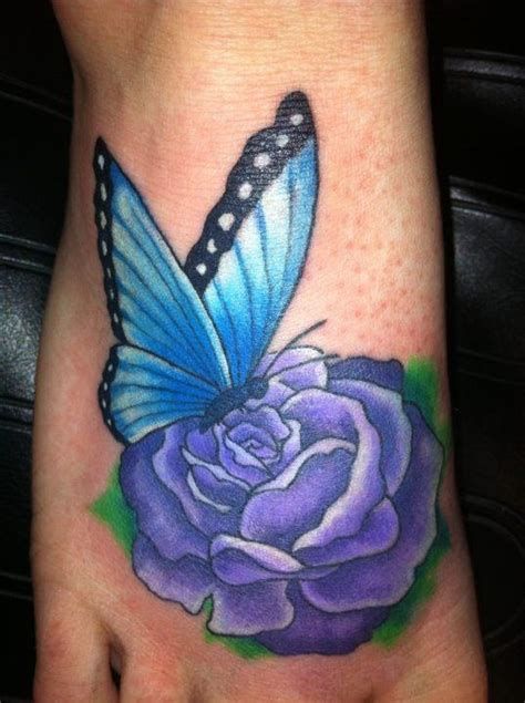 rose tattoos with butterflies butterfly on a purple tattoos