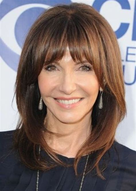 bangs shoulder length hair older women medium length hairstyles with bangs for women over 50