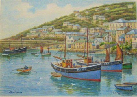 fishing boat blue book mousehole fishing boats in harbour watercolour signed