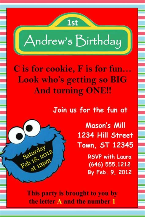 Cookie Monster Invitation Template 4x6 Cookie Invitations Templates