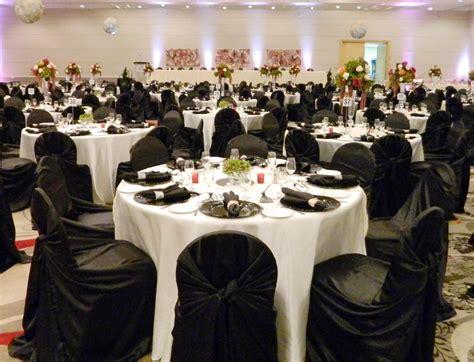 white table covers weddings white tablecloths black runner black napkins black chair