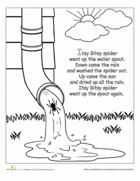 The Itsy Bitsy Spider Rhyme Worksheet Education Com Itsy Bitsy Spider Coloring Page