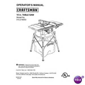 sears craftsman table saw manual model 315 218050 on
