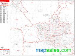 Fresno Zip Code Map by Fresno California Zip Code Wall Map Red Line Style By