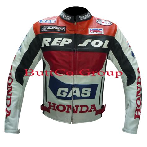 bike driving jacket new honda gas repsol real leather motorcycle motorbike